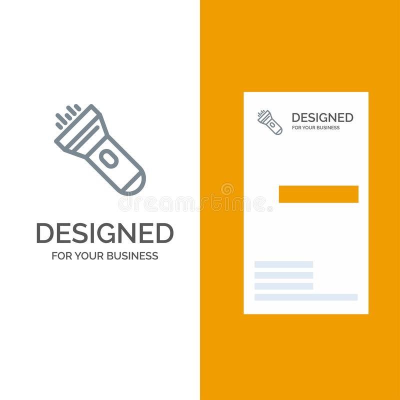 Flashlight, Light, Torch, Flash Grey Logo Design and Business Card Template vector illustration