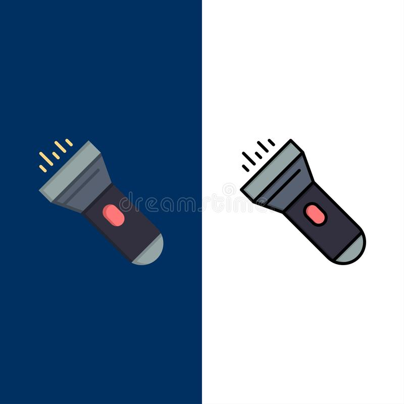 Flashlight, Light, Torch, Flash  Icons. Flat and Line Filled Icon Set Vector Blue Background royalty free illustration
