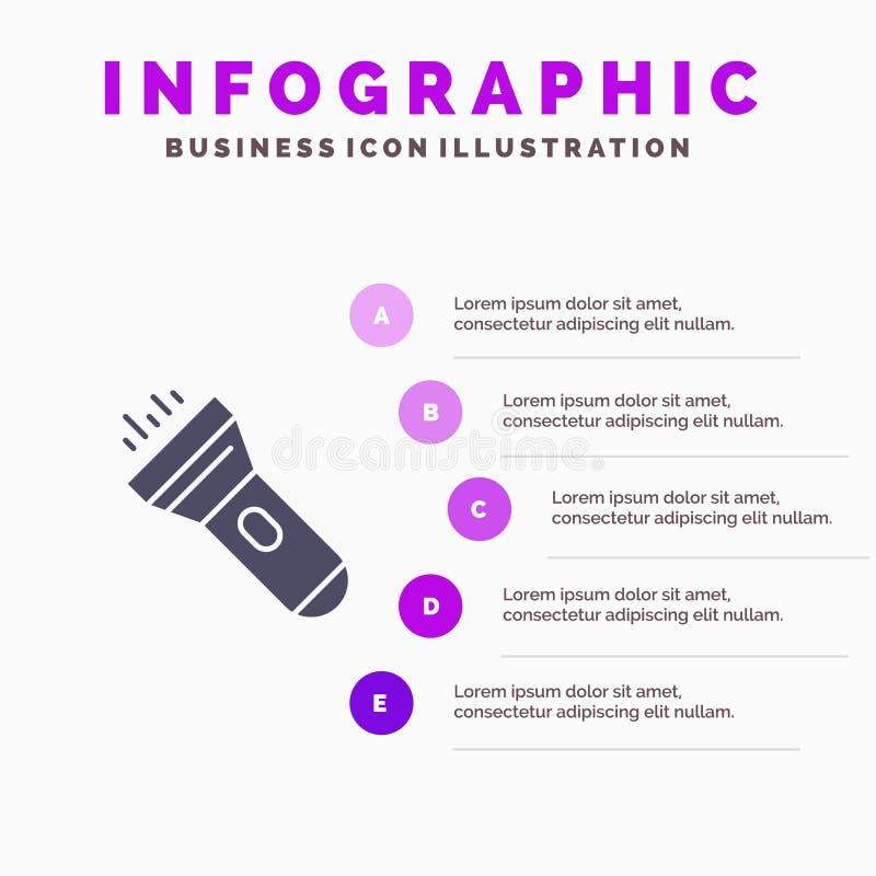 Flashlight, Light, Torch, Flash Infographics Presentation Template. 5 Steps Presentation stock illustration