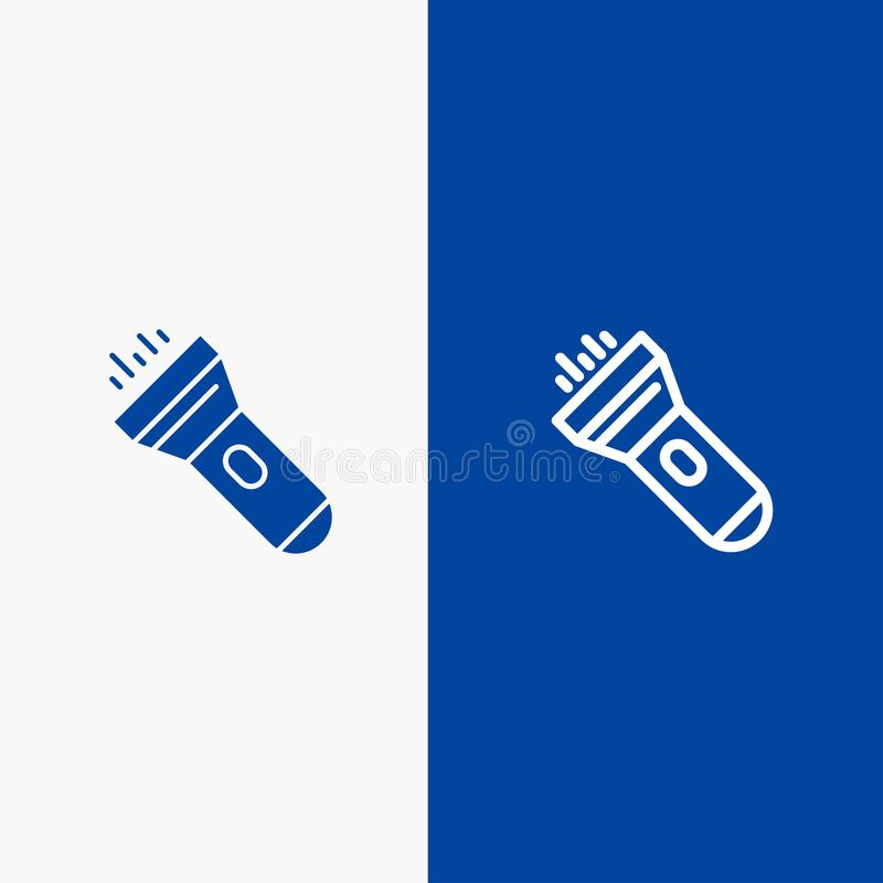 Flashlight, Light, Torch, Flash Line and Glyph Solid icon Blue banner royalty free illustration
