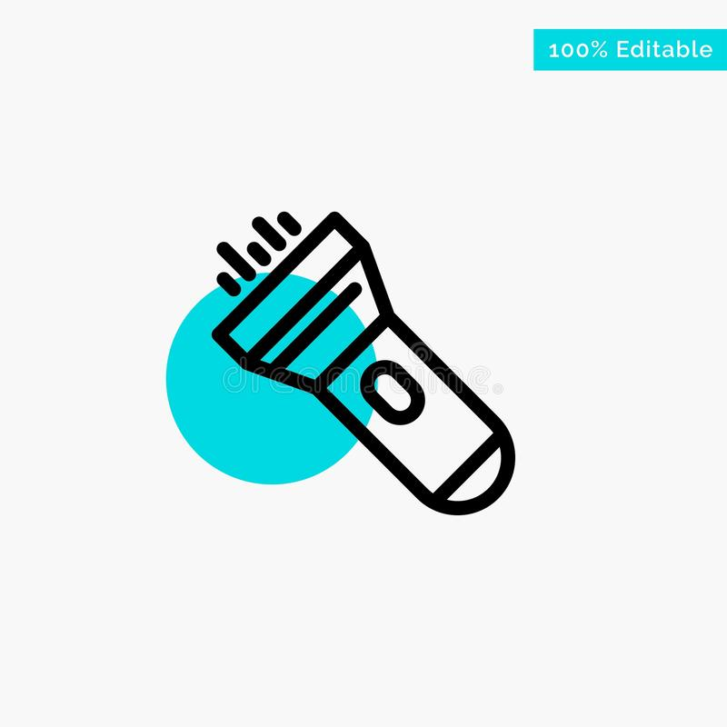 Flashlight, Light, Torch, Flash turquoise highlight circle point Vector icon royalty free illustration