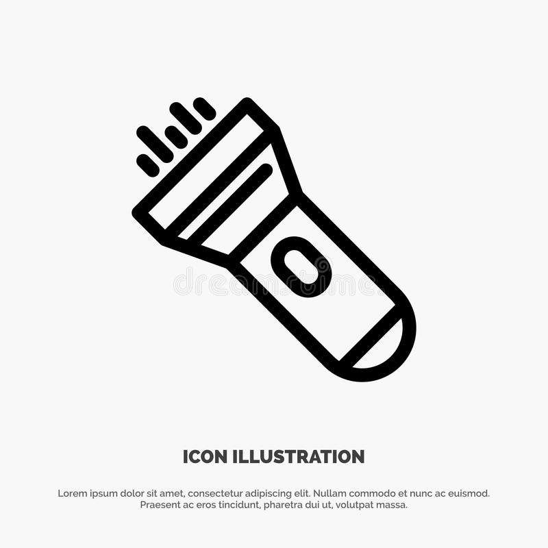 Flashlight, Light, Torch, Flash Vector Line Icon vector illustration