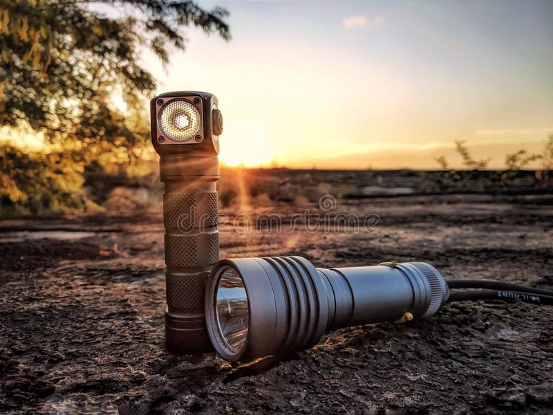 Flashlight on the roof during sunset stock photography