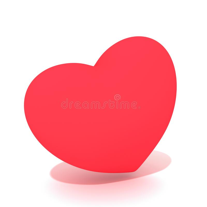 A flashy red 3D heart with shadows. A 3D heart symbols on white background with little shadow. Perfect for Valentines Day, Mothers Day, wedding, I love you etc stock photo