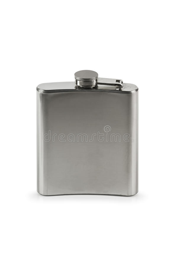 Flask. Steel flask isolated on white royalty free stock photography
