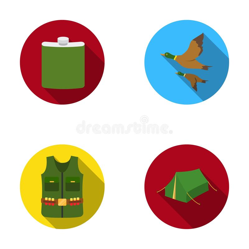 Flask, gilet with cartridges, flying ducks, tent.Hunting set collection icons in flat style vector symbol stock royalty free illustration