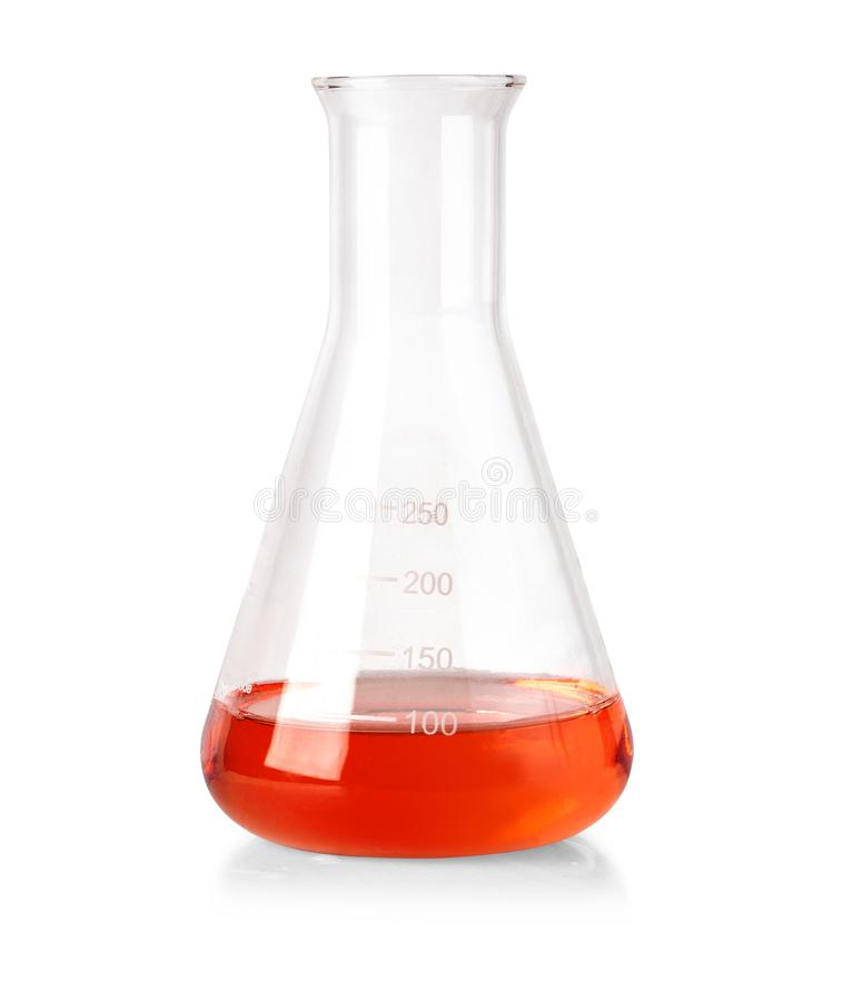 Flask with red liquid stock images