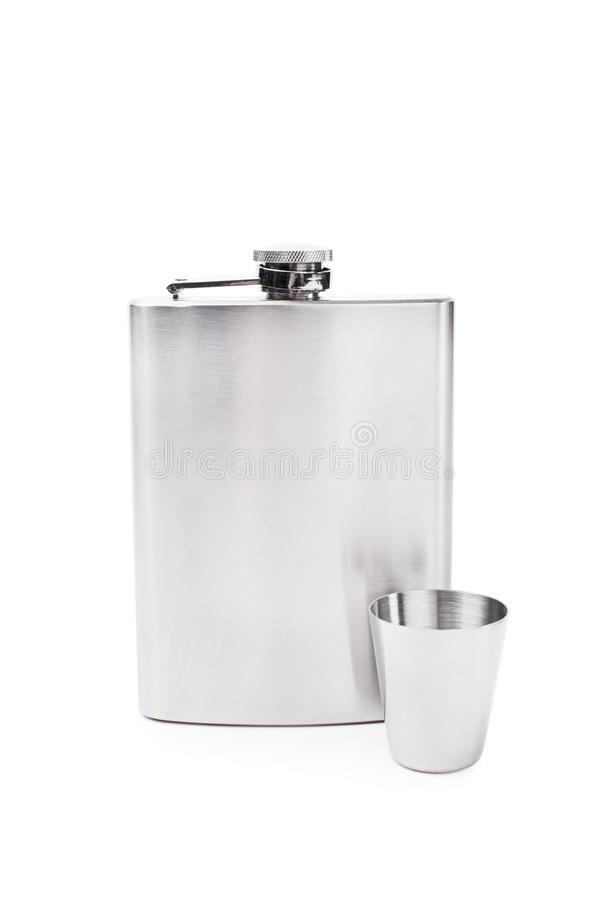 Flask and a small glass stock photos