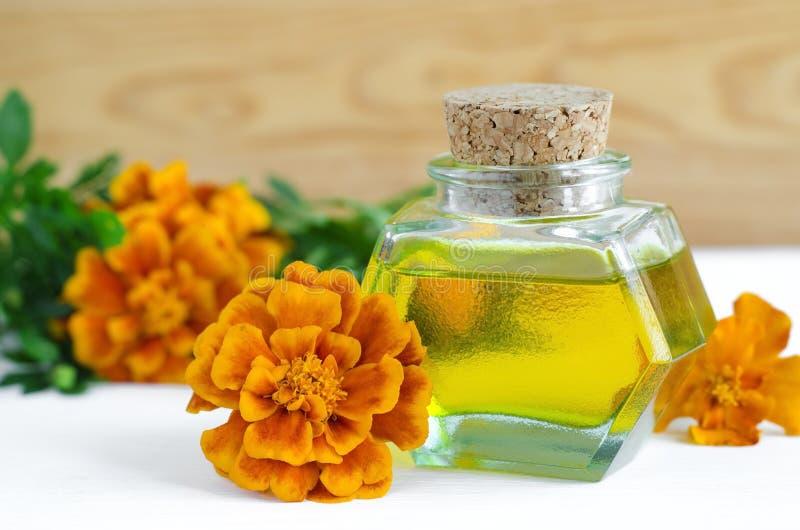 Flaska av att läka ringblommaolja (Tagetes blommor extrakt, tinktur, avkoken) fotografering för bildbyråer