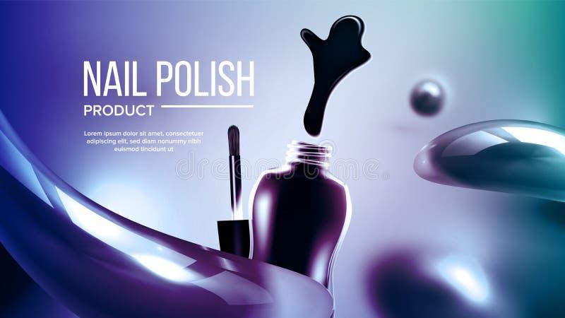 Flaska av blått att spika den polska produktbanervektorn royaltyfri illustrationer