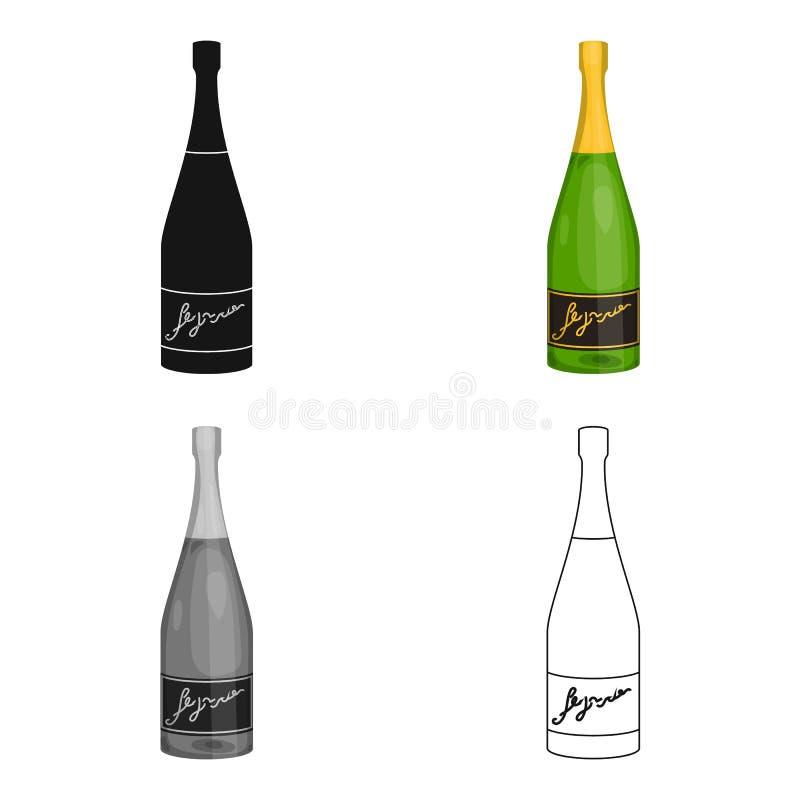 Flaska av champagnesymbolen i tecknad filmstil som isoleras på vit bakgrund Illustration för vektor för materiel för symbol för v stock illustrationer
