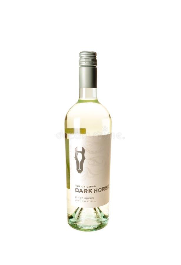 Flaska av den mörka hästen Pinot Grigio arkivfoton