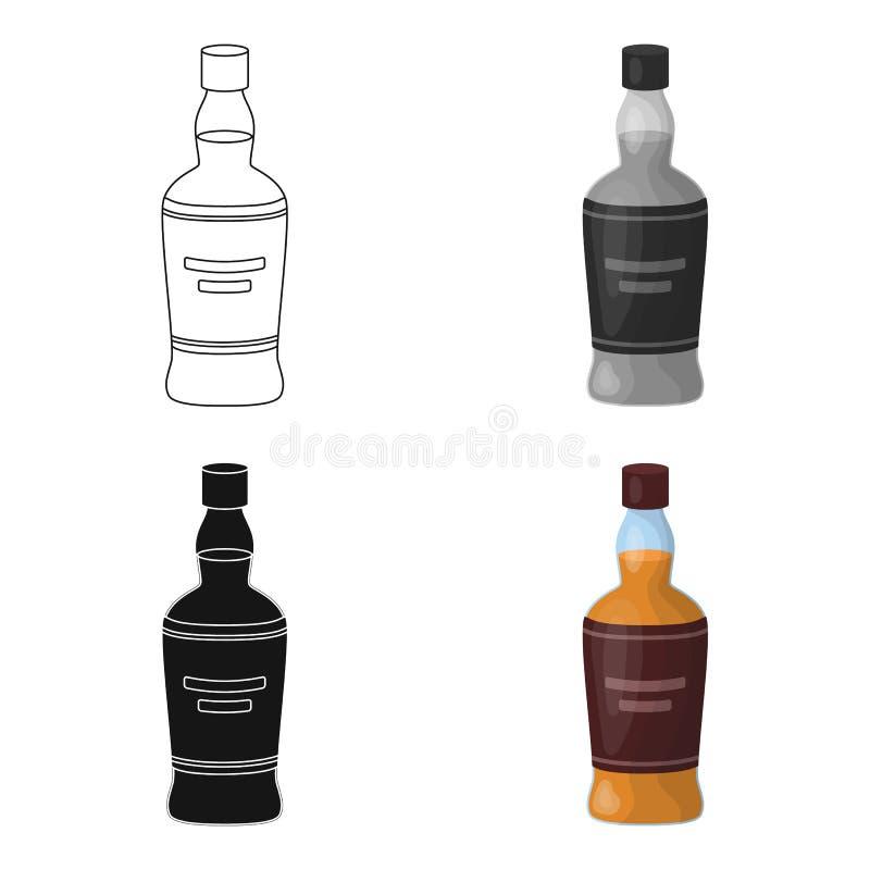 Flaska av den skotska whiskysymbolen i tecknad filmstil som isoleras på vit bakgrund Vektor för materiel för Skottland landssymbo royaltyfri illustrationer