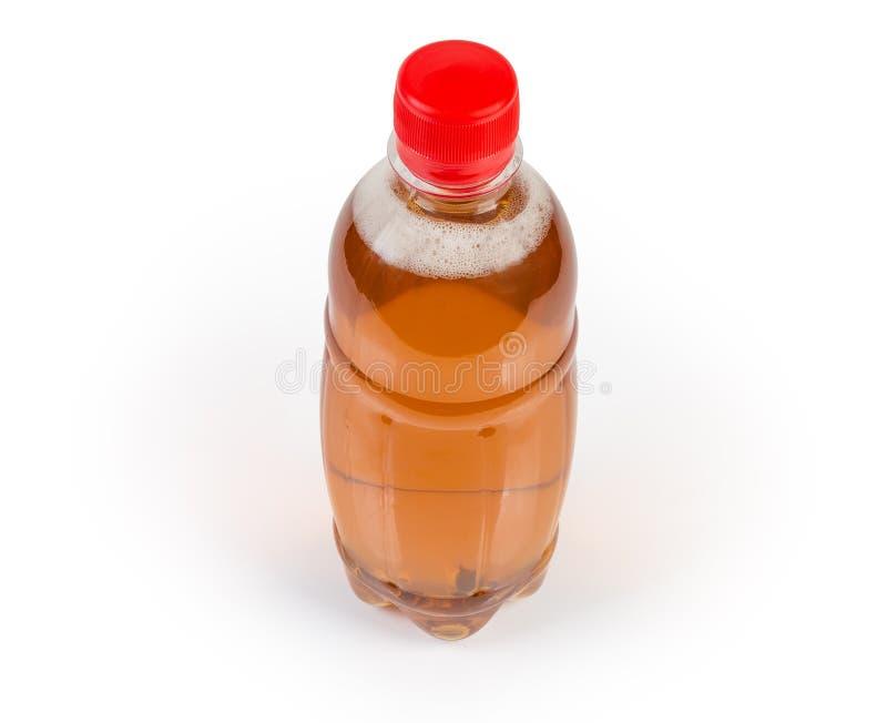 Flaska av den traditionella äppelcidern på en vit bakgrund royaltyfri fotografi