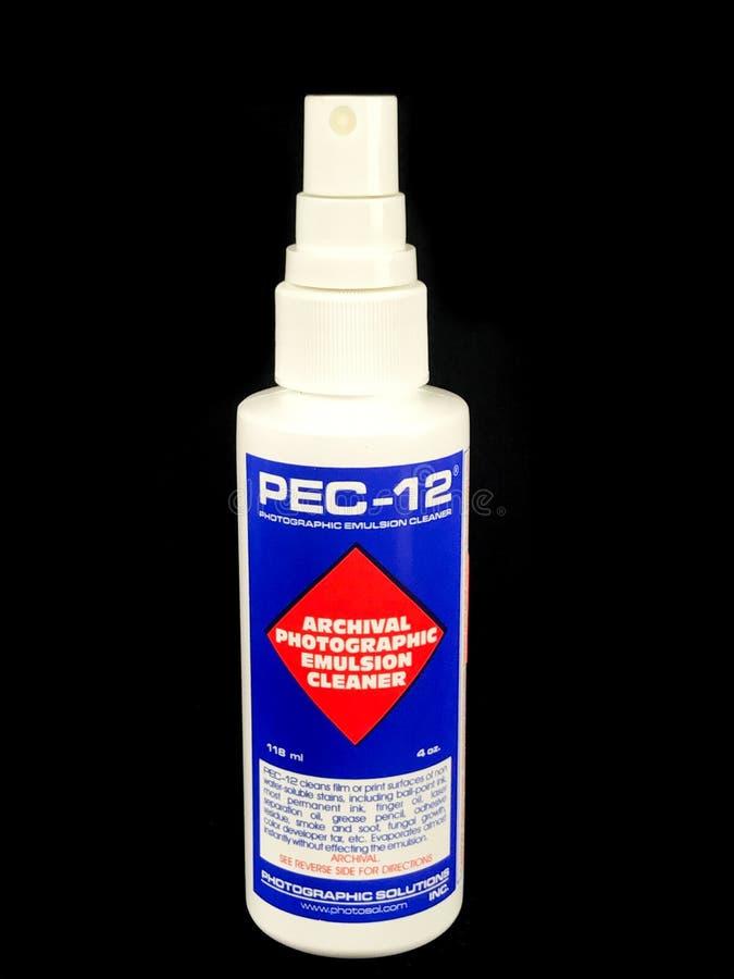Flaska av det arkivrengöringsmedlet för fotografisk emulsion PEC-12 royaltyfria bilder