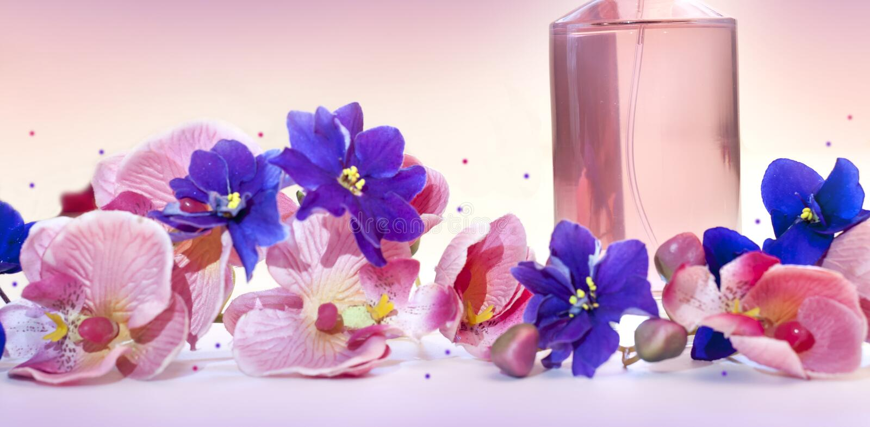 Flaska av doft för kvinna` s på en rosa bakgrund royaltyfria bilder