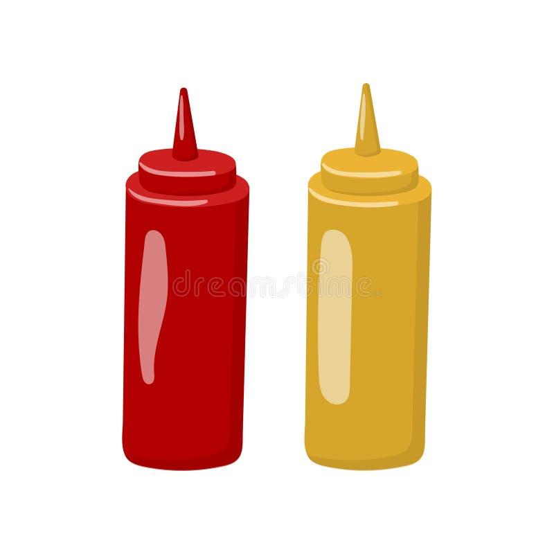Flaska av illustrationen för senap- och ketchuptecknad filmvektor vektor illustrationer