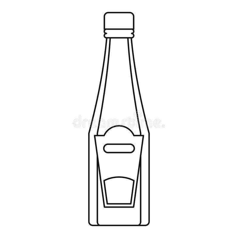 Flaska av ketchup- eller senapsymbolen, översiktsstil stock illustrationer