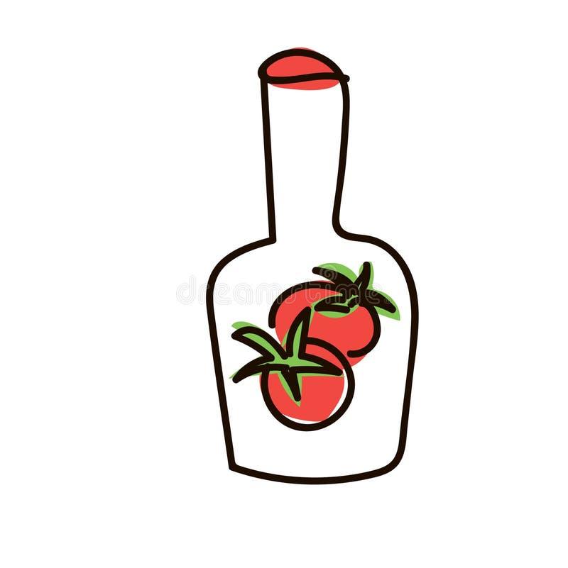 Flaska av ketchup, krus som isoleras på bakgrund Röd tomatsås, deg, naturlig kryddig smaktillsats, vektor illustrationer