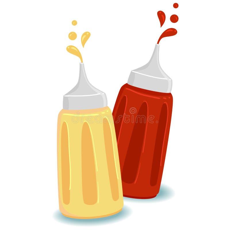 Flaska av ketchup och senap royaltyfri illustrationer