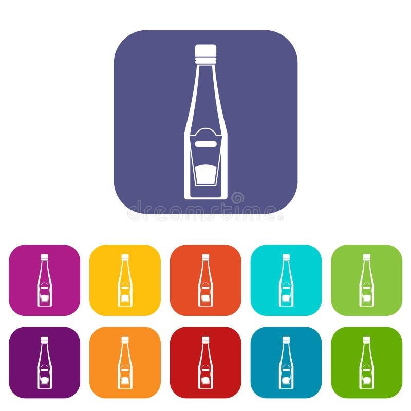 Flaska av lägenheten för ketchupsymbolsuppsättning stock illustrationer
