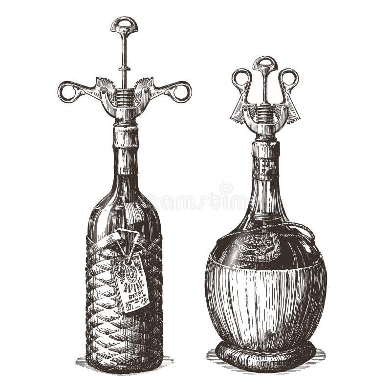 Flaska av mallen för design för vinvektorlogo royaltyfri illustrationer