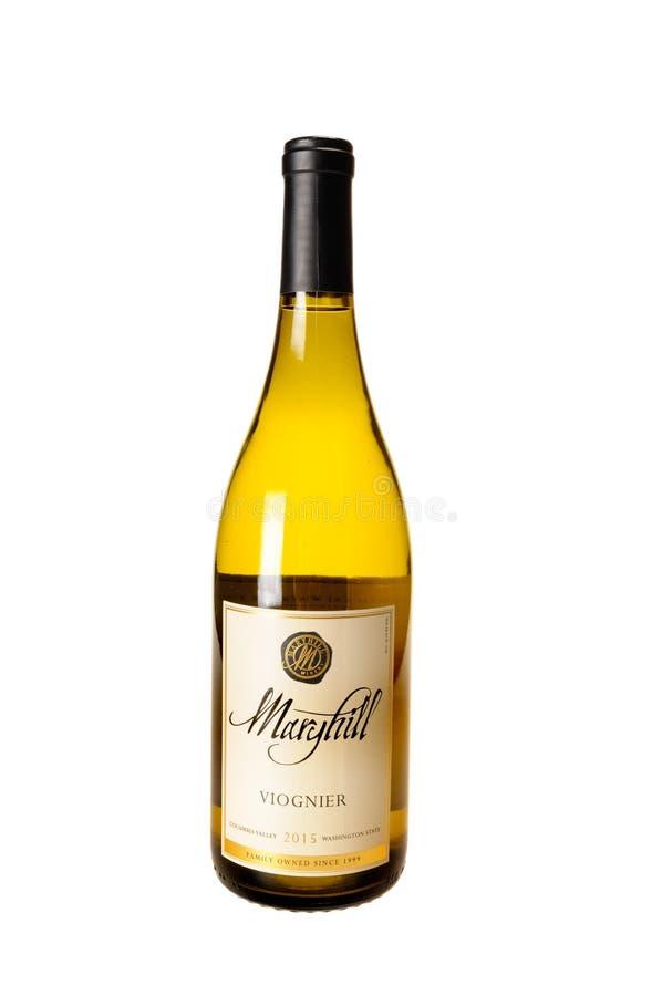 Flaska av Maryhill Viognier royaltyfria bilder