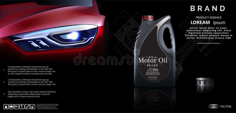 Flaska av motorolja mot bakgrunden av bilen Vektorillustration EPS10 vektor illustrationer