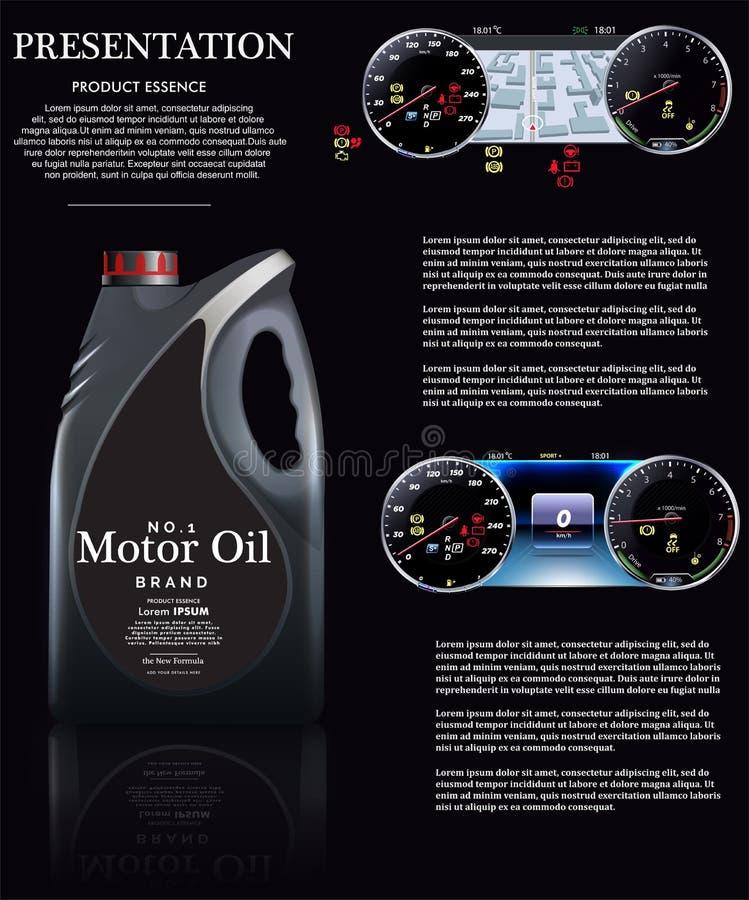 Flaska av motorolja mot bakgrunden av en hastighetsmätare EPS10 vektor illustrationer