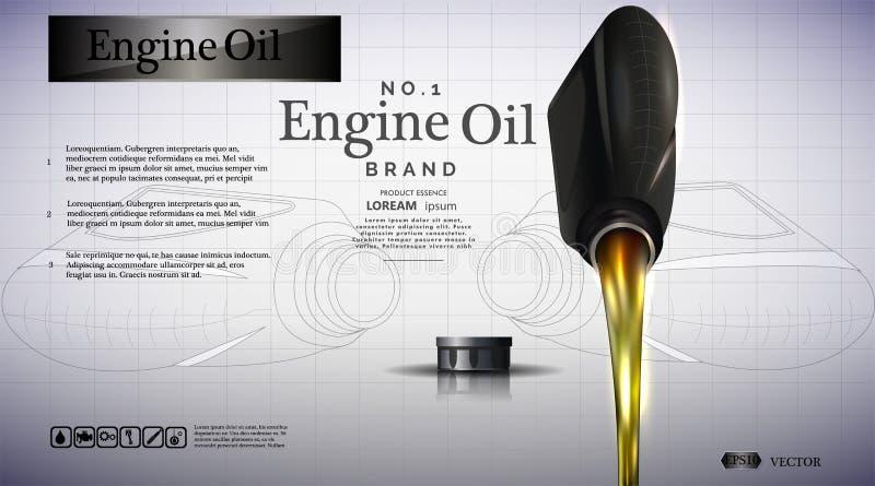 Flaska av motorolja Oljaflöden stock illustrationer