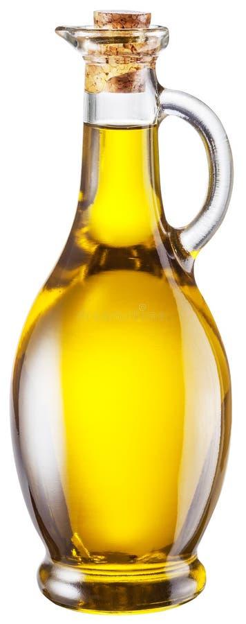 Flaska av olivolja på vit bakgrund Snabb bana arkivbild