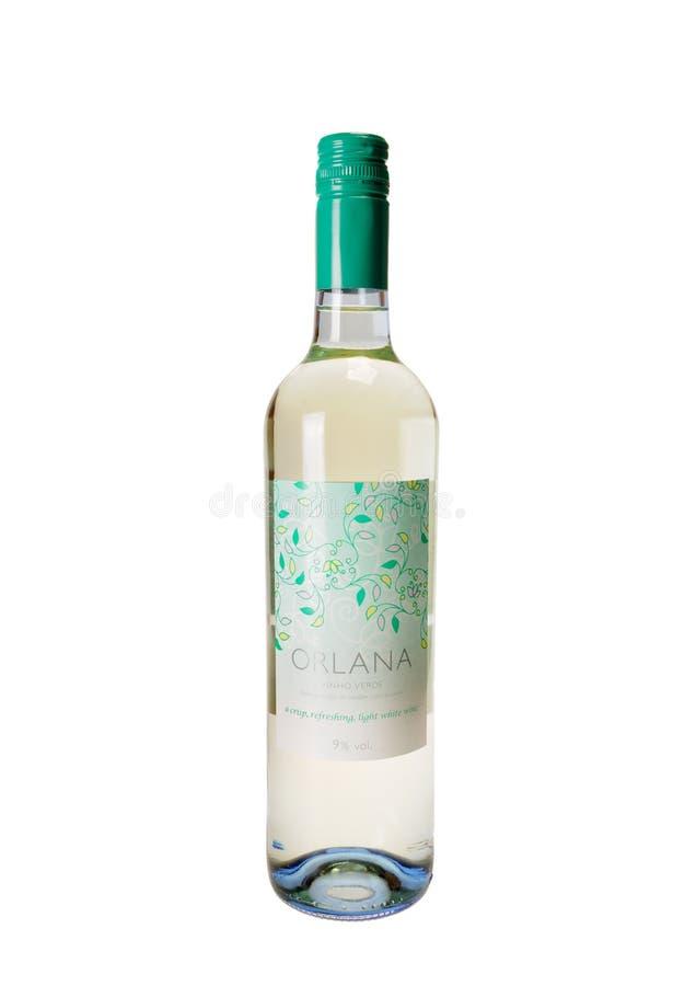 Flaska av Oralana Vihno Verde vitt vin arkivbilder