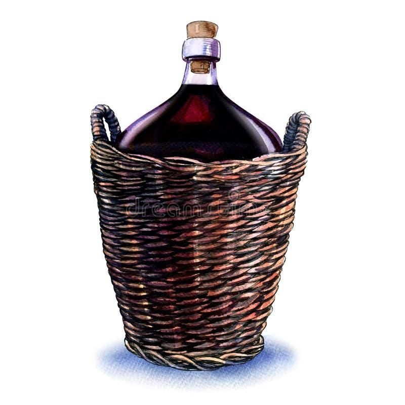 Flaska av rött vin i den vide- korgen som isoleras på vit vektor illustrationer