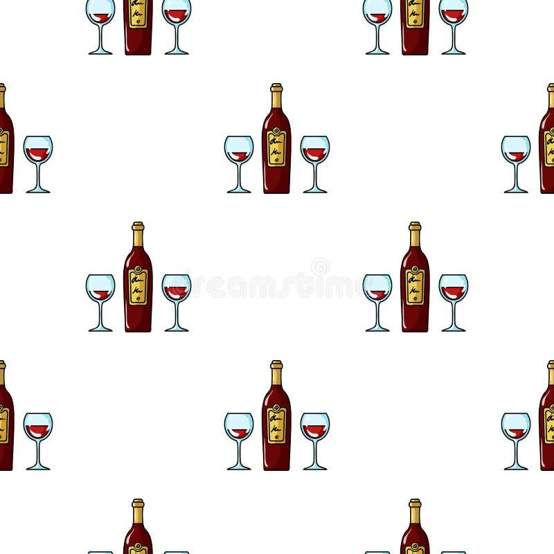 Flaska av rött vin med exponeringsglassymbolen i tecknad filmstil som isoleras på vit bakgrund Vektor för restaurangmodellmaterie stock illustrationer