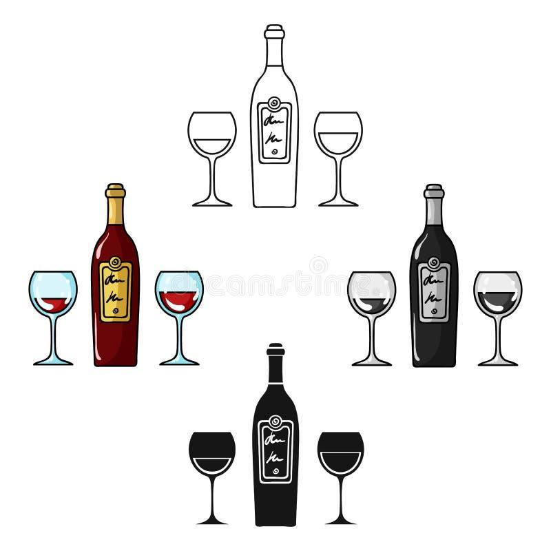 Flaska av rött vin med exponeringsglassymbolen i tecknade filmen, svart stil som isoleras på vit bakgrund Vektor f?r restaurangsy royaltyfri illustrationer