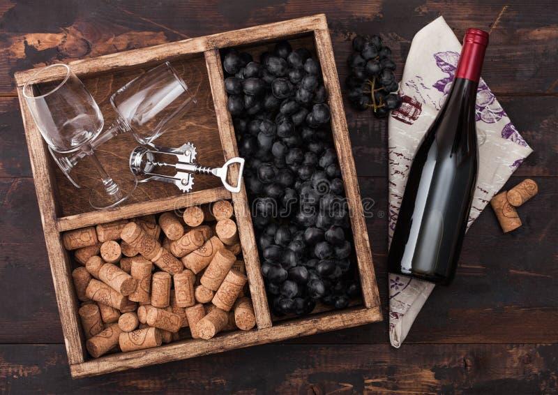 Flaska av rött vin på trä med tomma exponeringsglas med mörka druvor med korkar och korkskruvet inom tappningträasken på mörkt tr royaltyfri bild