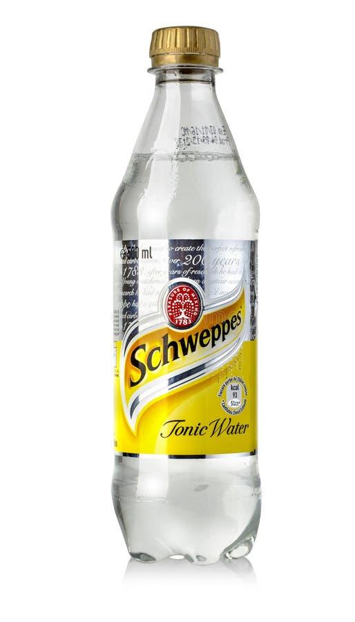 Flaska av Schweppes smak royaltyfri bild
