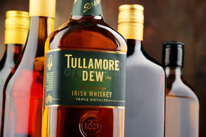 Flaska av Tullamore dagg, irländsk whisky royaltyfria foton