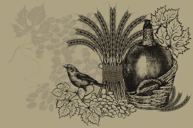 Flaska av vin i en korg och vete, sittande fågel med druvor Tappningbakgrund, vektorillustration stock illustrationer