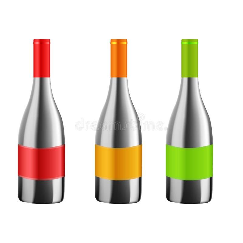 Flaska av vin i realistisk stil stock illustrationer
