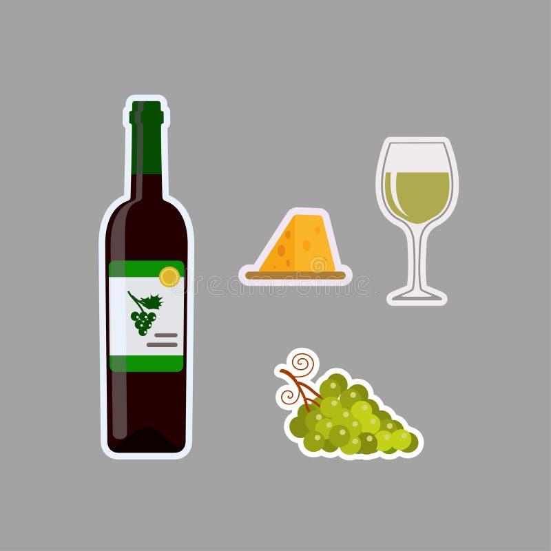Flaska av vitt vin, vinexponeringsglas, druvor och ost, klistermärkear som isoleras på grå bakgrund royaltyfri illustrationer