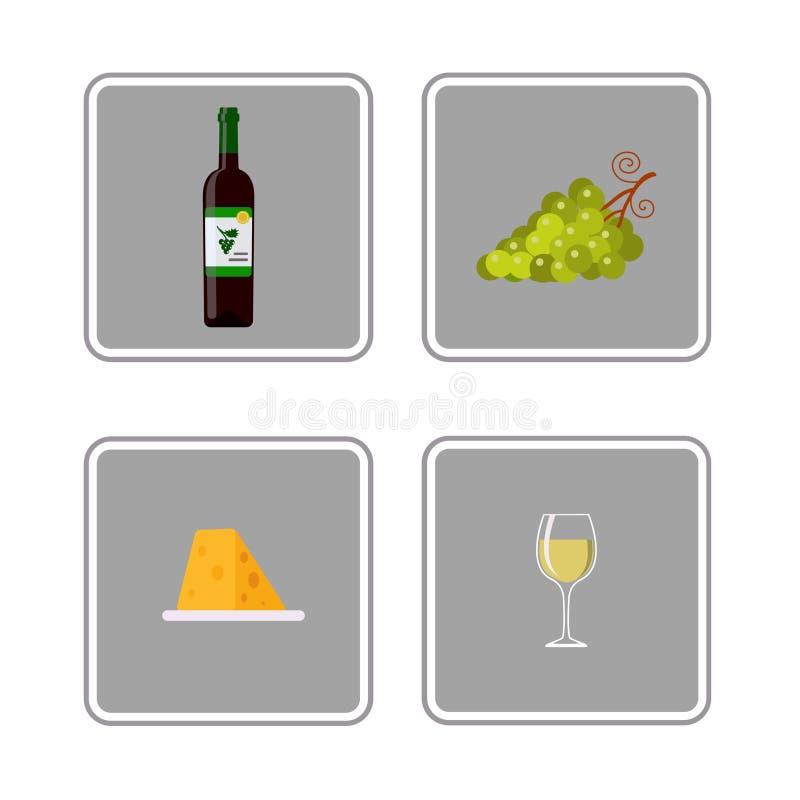 Flaska av vitt vin, vinexponeringsglas, druvor och ost, symboler vektor illustrationer