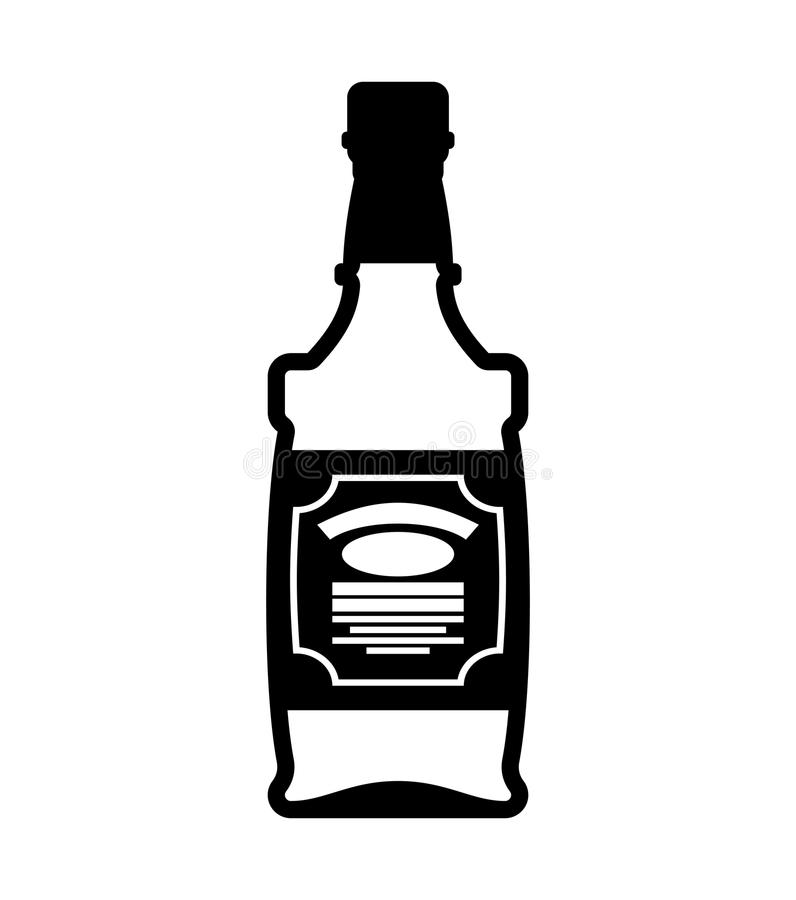 Flaska av whisky isolerad bourbon tequila på vit bakgrund royaltyfri illustrationer