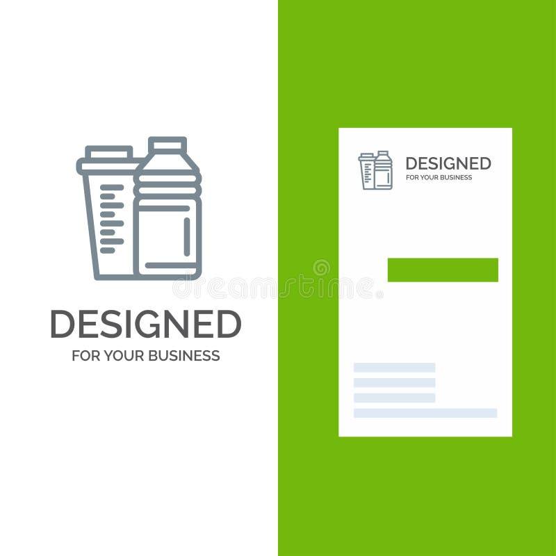Flaska, drink, energi, shaker, sport Grey Logo Design och mall för affärskort vektor illustrationer