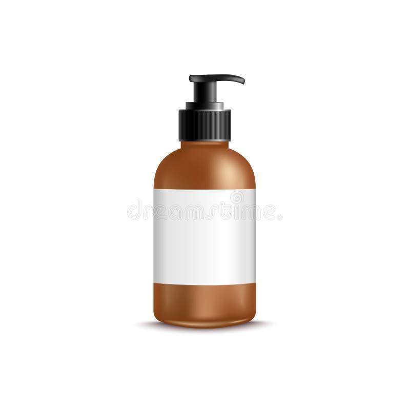 flaska för brunt 3d med realistisk stil för utmatare och för mellanrumsetikett stock illustrationer