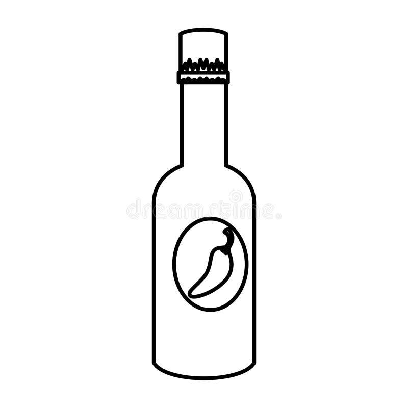 Flaska för chilipepparsås royaltyfri illustrationer