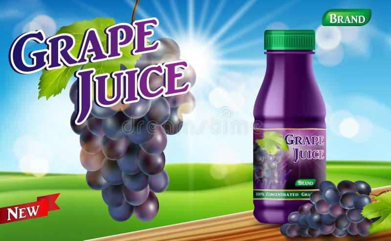 Flaska för druvafruktsaft med bokehbakgrund på trätabellen Annons för fruktsaftbehållarepacke realistisk vektor för druva 3d royaltyfri illustrationer