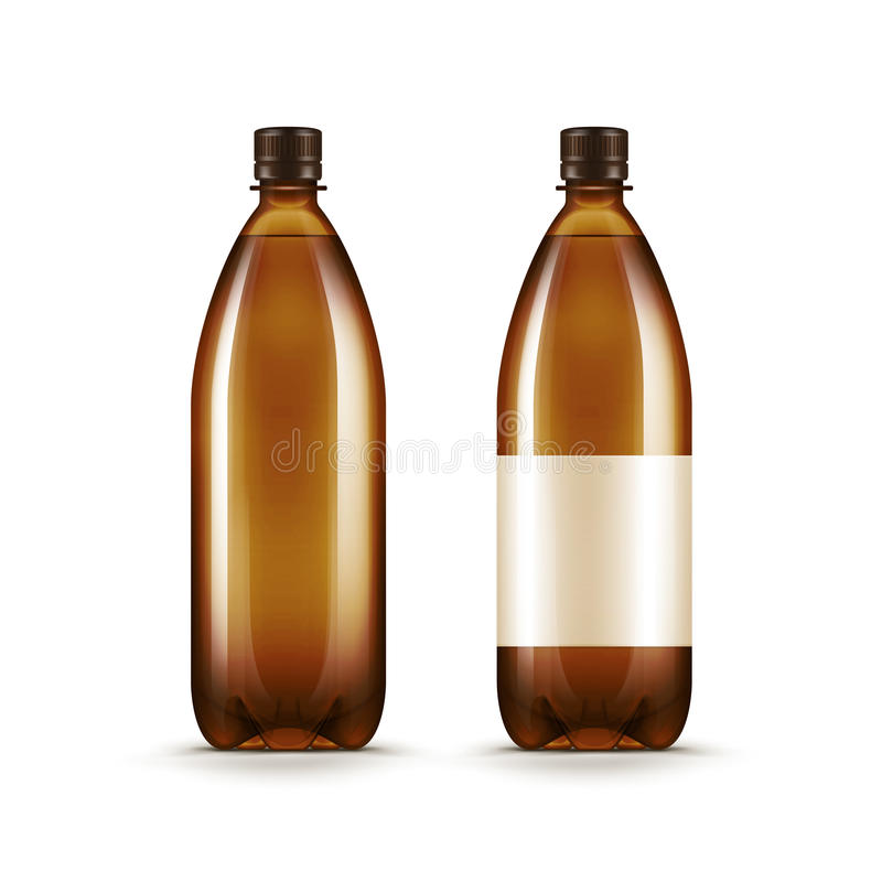 Flaska för Kvass för öl för vatten för vektormellanrumsbrunt plast- royaltyfri illustrationer