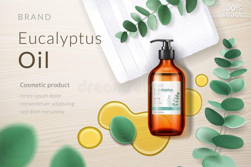 flaska för sprej 3d med eukalyptusolja, klick, filial royaltyfri illustrationer