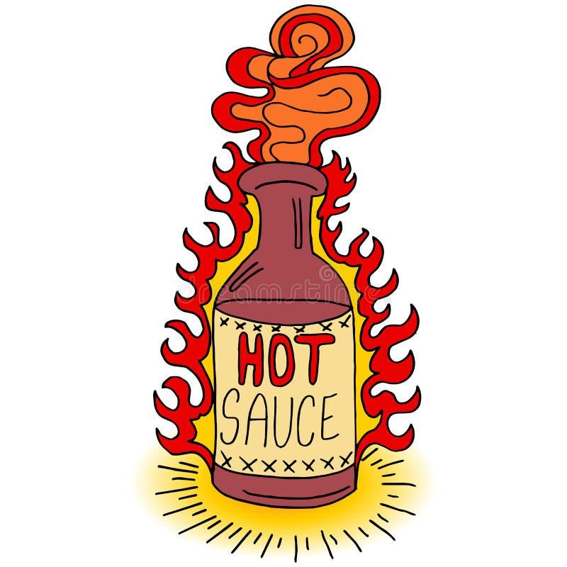 Flaska för varm sås vektor illustrationer